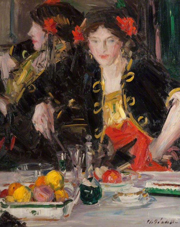 "Francis Campbell Boileau Cadell (Scottish, 1883 - 1937) ""Crème de menthe"", 1915 [Scottish Colourist]:"