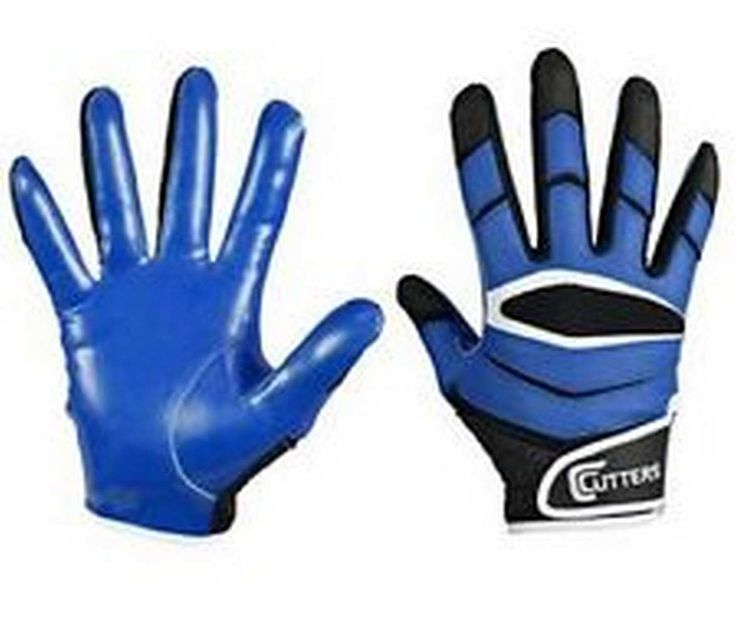Cutters Rev Pro C-Tack Football Gloves, Black/Royal Blue. S450-10