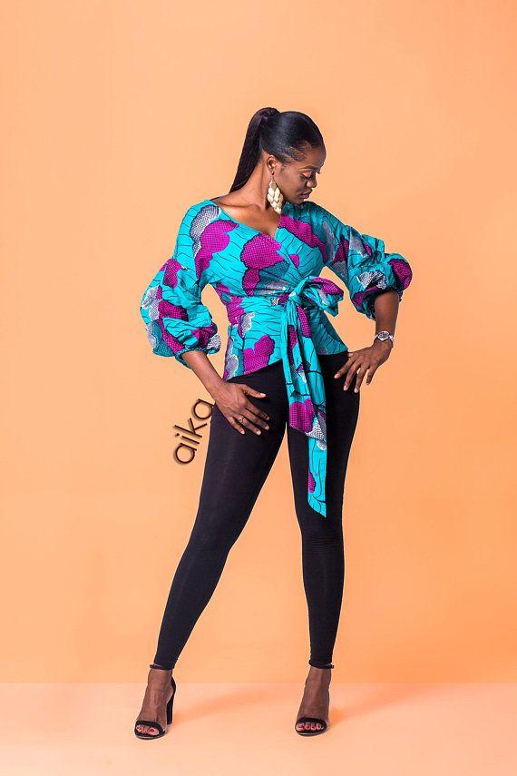 068324449ea African print wrap top