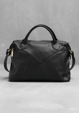 & other stories. Leather tote bag. Black Stitching detailing.