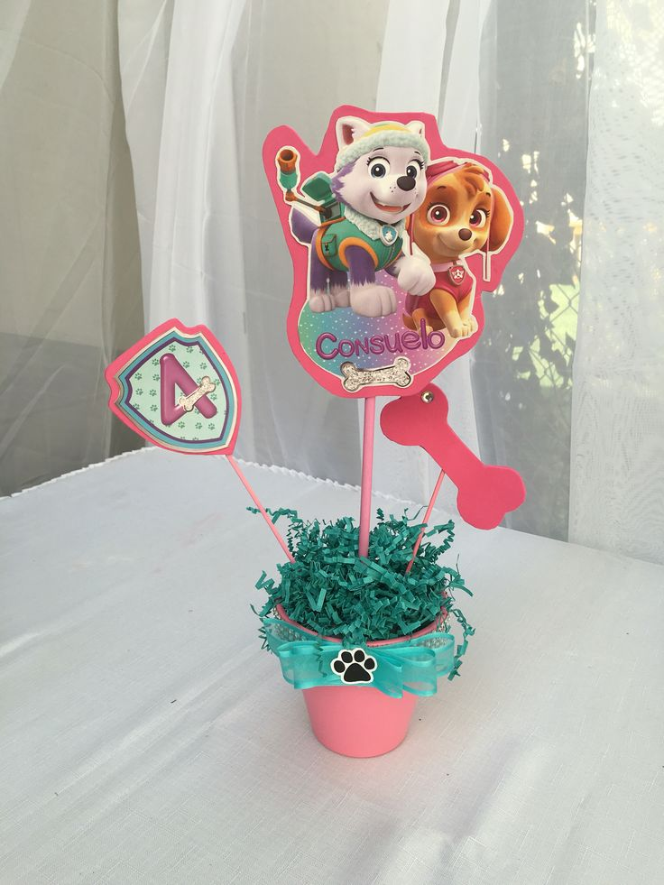 Skye And Everest Centerpiece Party Ideas Paw Patrol