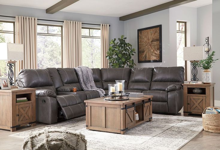 Warstein Gray Reclining Sectional Set In 2020 Reclining