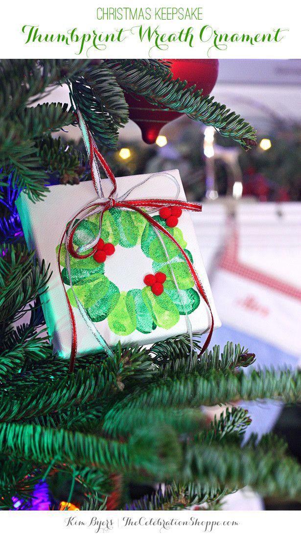 Christmas Keepsake - Thumbprint Wreath Ornament | @kimbyers TheCelebrationShoppe.com