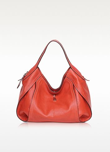 Copacabana Medium Red Leather Shoulder Bag - Francesco Biasia