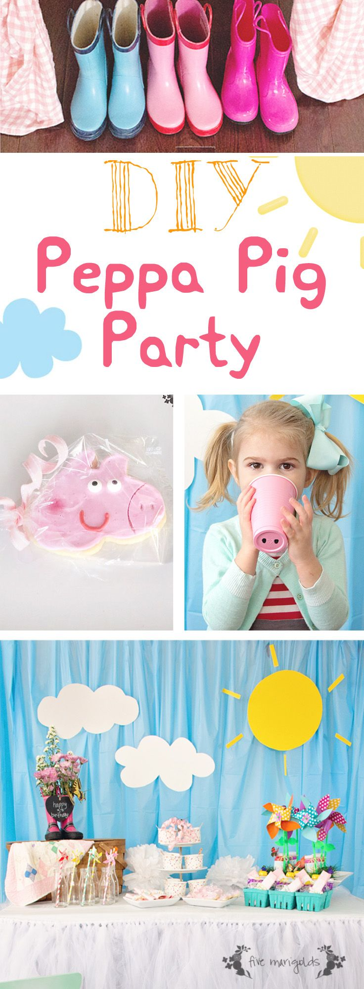 Peppa Pig Picnic Themed Birthday Party When planning my youngest's 3rd birthday, it was a no-brainer to choose a Peppa Pig theme. She loves the show and her favorite outfit has Peppa on it. When guests entered our home for the party, they were invited to try on a pair of rain boots for size … … Continue reading →