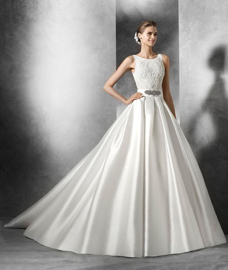 Mimi mikado silk princess style skirt pronovias for Modest wedding dresses seattle