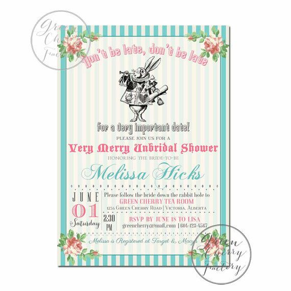 Bridal Shower Invitation - Mad Hatter Tea Party Invitation - ANY ...