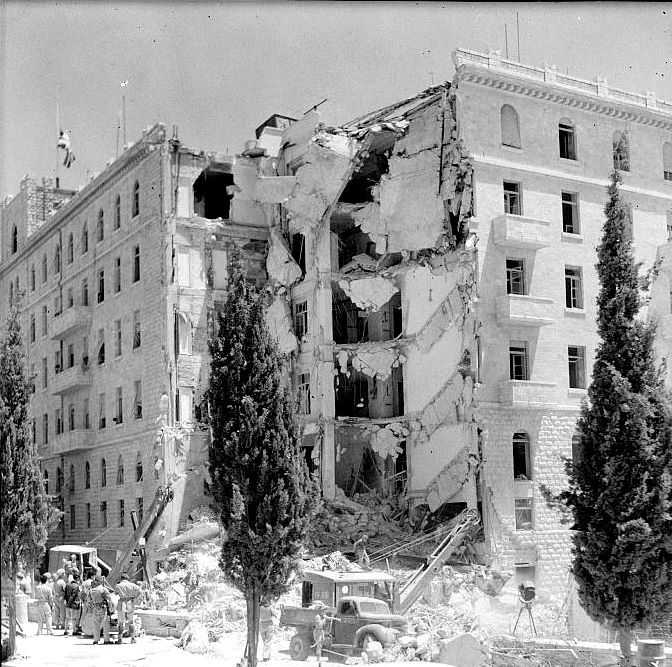 The King David Hotel after being bombed by Irgun, 1946 via reddit [[MORE]]  The King David Hotel bombing was a terrorist attack carried out on Monday July 22, 1946 by the militant Zionist underground organization Irgun on the British administrative headquarters for Palestine, which was housed in the southern wing of the King David Hotel in Jerusalem. 91 people of various nationalities were killed and 46 were injured. Wikipedia