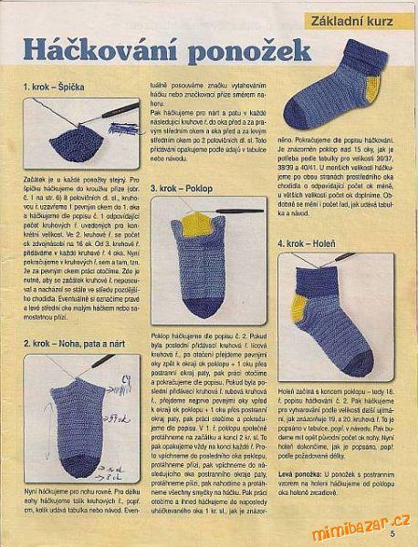 Háčkované ponožky<br>Metodou ve čtyřech krocích <br>Na žádost vkládám návod na háčkované ponožky, je...