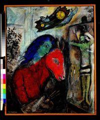 <추시계와 자화상>, 1947 캔버스에 유화 파리, 개인 소장  이 자화상에서 샤갈은 동물의 머리를 가진 모습으로 그려졌다. 당나귀 혹은 양으로 추정된다. 작업실을 가로지르며 날고 있는 추시계 역시 샤갈의 세계에서 흔히 볼 수 있는 것이다. 1911년의 한 그림에서도 어떤 가정의 식당에 당당히 자리잡고 있는 시계를 볼 수 있다. 그 이래로 추시계는 샤갈의 작품에 등장할 때면 그의 유년기와 사춘기를 환기시키기 위해서였다. 샤갈에게 그것은 현재를 다루고 있는 그림 안에 자신의 과거가 솟아오르게 만드는 방식이었다. 이 그림 속의 현재, 그것은 1940년대에 샤갈이 즐겨 다루었던 주제들 중 하나인 십자가에 못 박힌 예수를 그리고 있는 샤갈 자신이다.