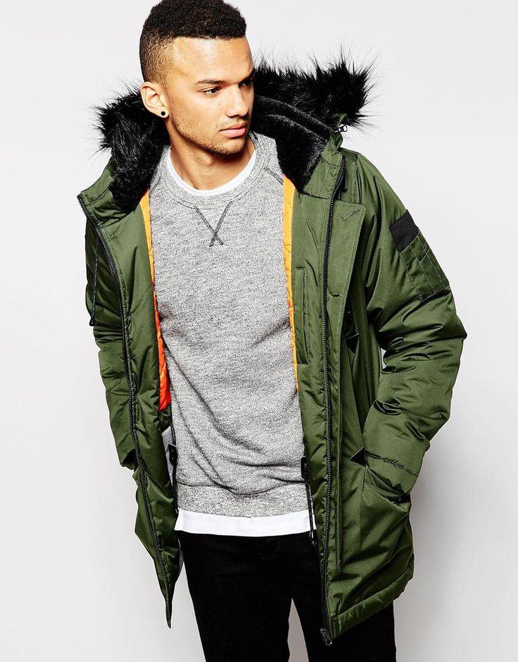 D-Struct Coulton Faux Fur Trimmed Parka Jacket