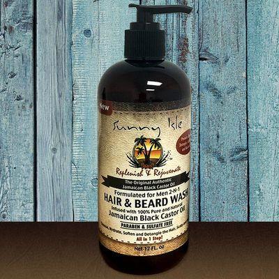 Sunny Isle Jamaican Black Castor Oil 2-N-1 Hair & Beard Wash Formulated Just for Men 12oz