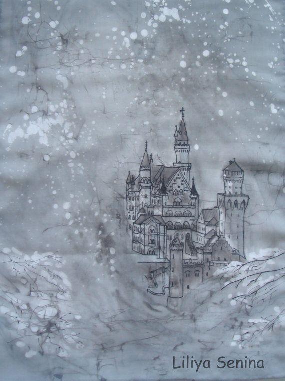 batik scarf Bavaria  Neuschwanstein  by BatikByLiliyaSenina, $37.50