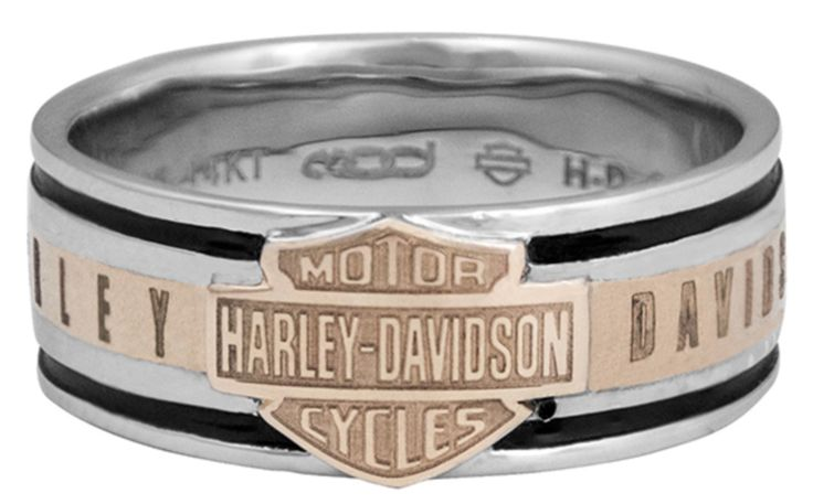 Harley-Davidson MOD Collection Men's H-D Classic Band Ring HMR0017 Sterling Silver with 14K Gold Inlay