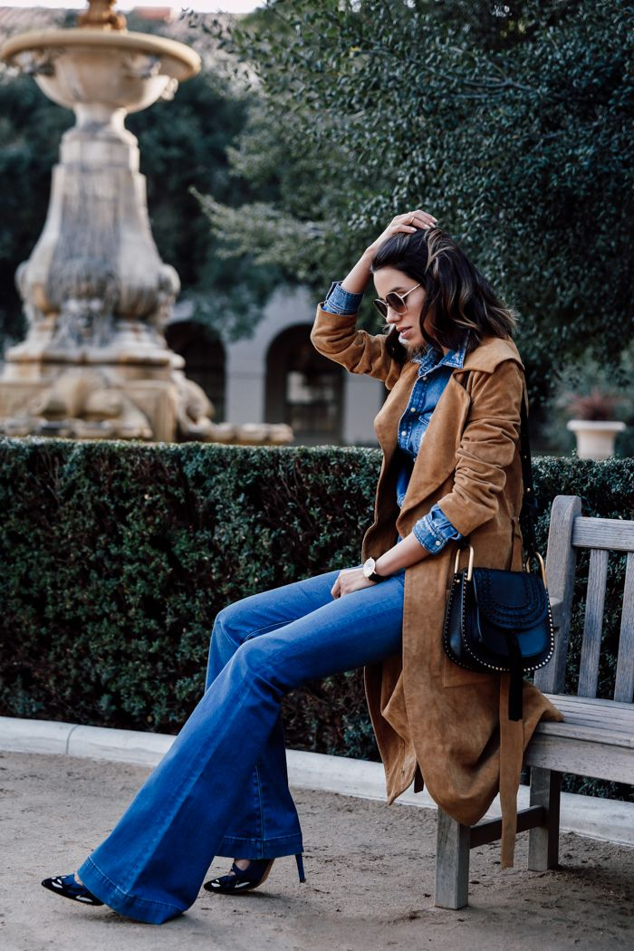what to wear this weekend, outfit inspiration: flare jeans, pumps, suede trench coat, saddle shoulder bag