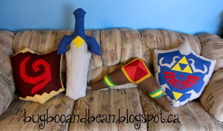 Bug, Boo, and Bean: Geeky Wedding Gifts Legend of Zelda inspired Pillows, Quilt, and Oven Mitts!