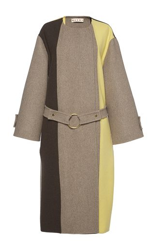 Belted Colorblock Wool Coat by MARNI for Preorder on Moda Operandi
