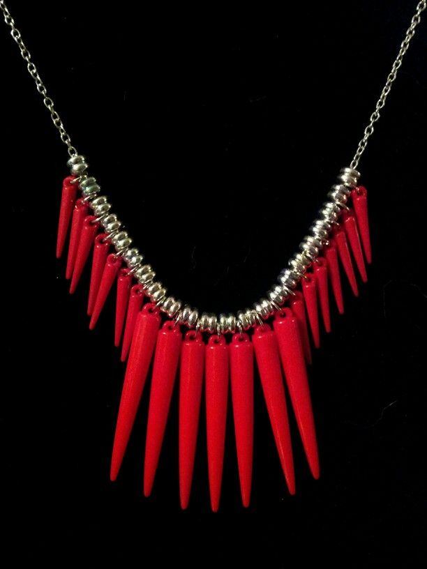 Red Acrylic Spike Statement Necklace on Silver Chain - $15 [OOAK] (Link available soon)