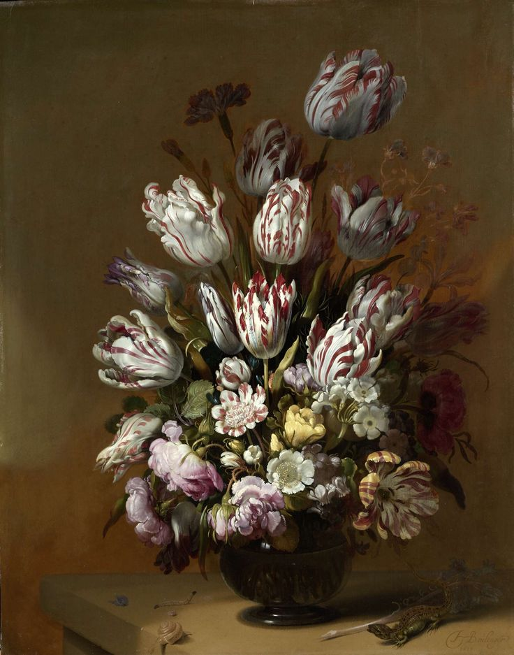 While this ample bouquet appears quite natural, tulips, anemones, roses and carnations all have different seasons. Yet Bollongier combined them into a harmonious composition.   This still life was painted following the financial collapse of 1637, when many lost their fortunes speculating in tulip bulbs. Perhaps this festive bouquet suggests the transience of worldly matters. Hans Bollongier, 1639.