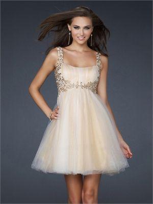 A-line Empire Waist with Straps Applique Knee Length Prom Dress PD1910 www.simpledresses.co.uk £88.0000