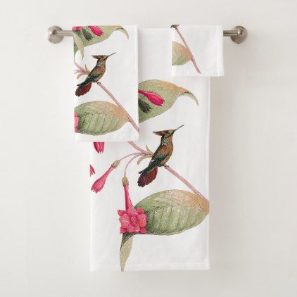 Hummingbird Birds Pink Flowers Bath Towel Set - home gifts ideas decor special unique custom individual customized individualized