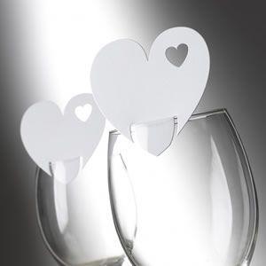 Tischkarten Hochzeit Herz in Herz weiß - Platzkarte...