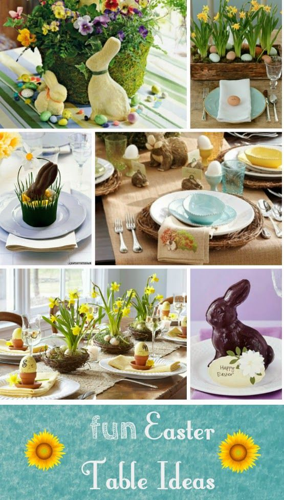 Easter tables that are easy to recreate and fun for kids and adults, bunnies, eggs, baskets, flowers and more!