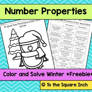 Number Properties Winter Color and SolveFREEBIECheck out my  Color and Solve Activities Check out my other number property products  HERE