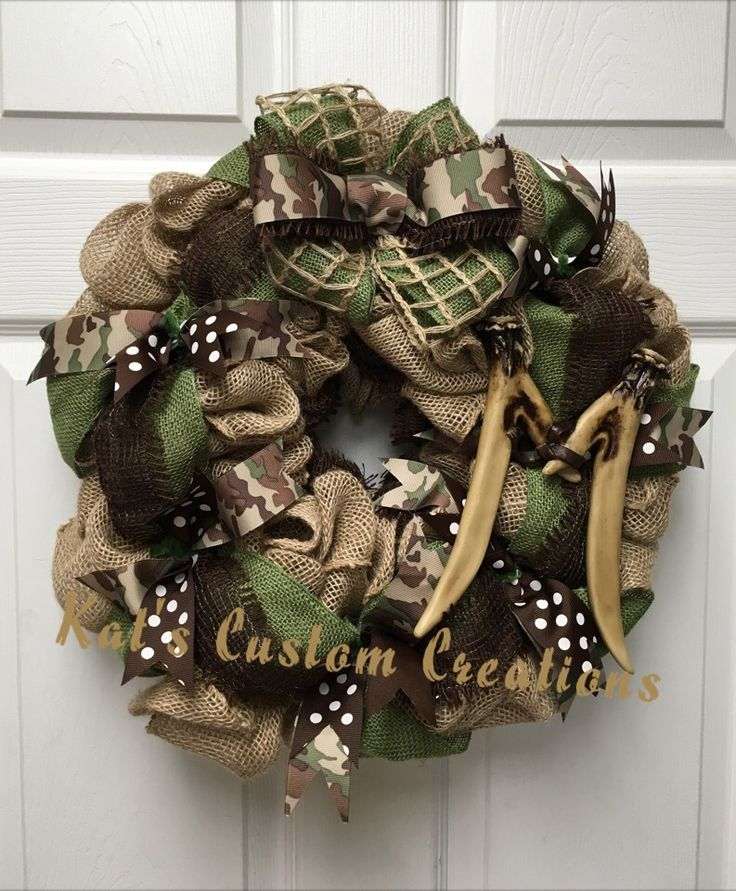 Rustic Burlap and Camo Wreath with Deer Antler Monogram!