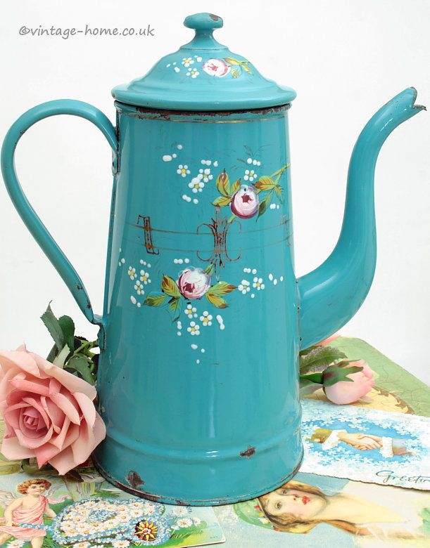 Vintage Home Shop - Pretty 1920s Hand Painted French Roses Enamel Coffee Pot: www.vintage-home.co.uk