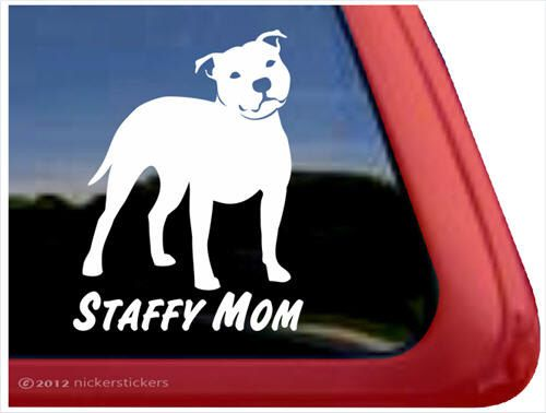 Staffy Mom ~ DC826MOM ~ High Quality Adhesive Vinyl Staffordshire Bull Terrier Window Decal Sticker by NickerStickers on Etsy https://www.etsy.com/listing/225848150/staffy-mom-dc826mom-high-quality