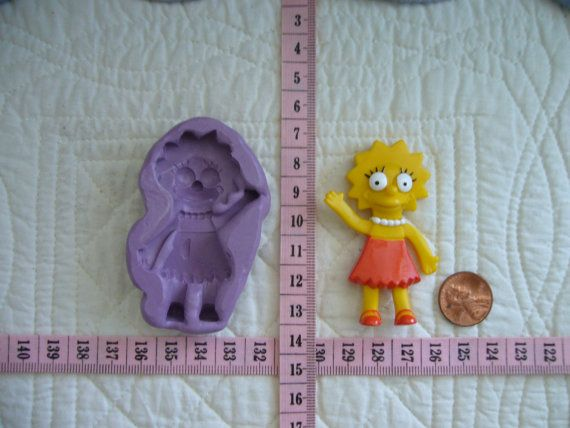 Lisa Simpson inspired, Food Grade Silicone Mold Cake Fondant Gum Paste Pastillage Chocolate Marzipan Candy or Resin Plaster Clay DIY by MoldCreationsNmore on Etsy.com