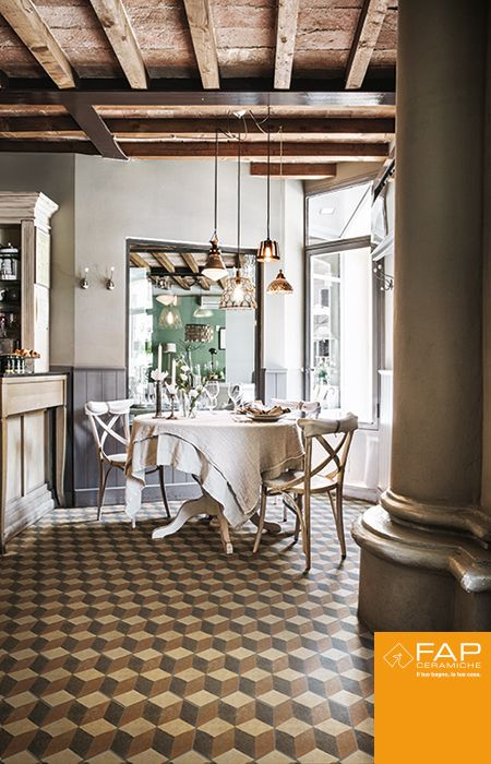 Retro influences with shades of beige floor #Firenze Deco inspired by the cement tiles, with optical effect graphic
