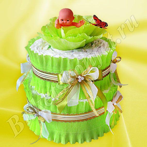 Торт из подгузников  Состав: подгузники – 44 шт, игрушка.  Высота: 34 см.  В упаковке – 58 см.  Цена: 1 400 руб.