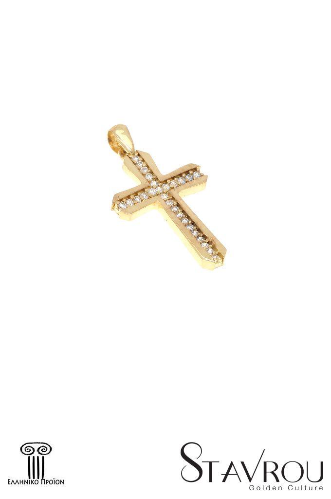 Γυναικείος σταυρός, με ζιργκόν, σε χρυσό Κ14. Διαστάσεις : 13.80x 25.40 mm #σταυροί_βάπτισης #βαπτιστικοί_σταυροί #χειροποίητα_κοσμήματα #γυναικείοι_σταυροί  #σταυροί #σταυροί_με_ζιργκόν