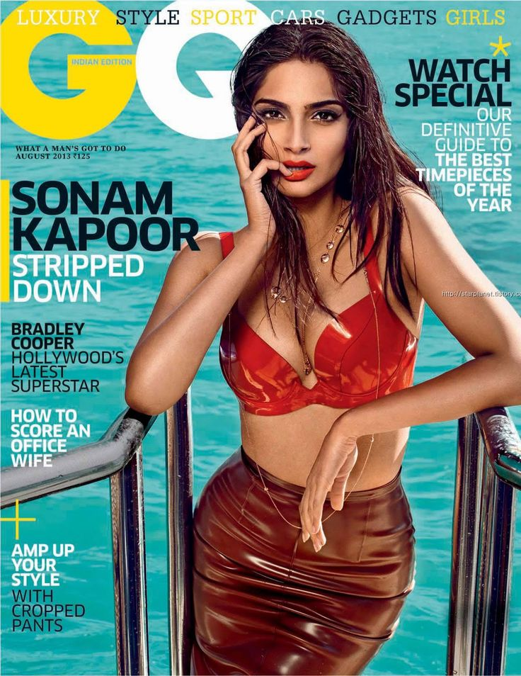 GQ India, August 2013. Sonam Kapoor on the Magazine Cover.