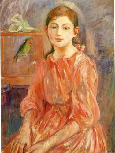 The Artist's Daughter with a Parakeet - Berthe Morisot: Impressionist Artists, Parakeets 1890, Oil On Canvas, The Artists, Artists Daughters, Berthe Morisot, National Galleries, 1841 1895, Art Impressionist