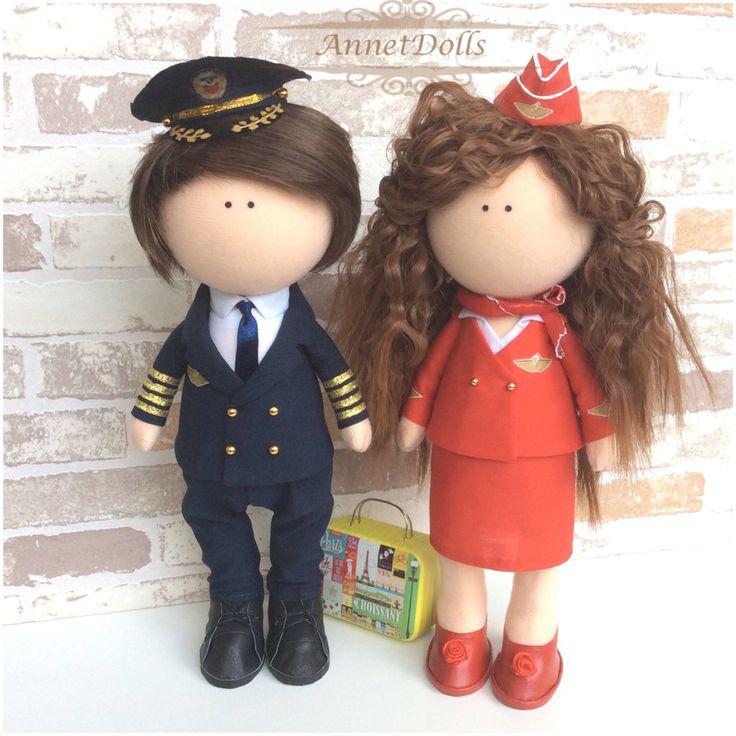 An example in my work, кукла, кукла ручной работы, интерьерная кукла, dolls, стюардесса, пилот