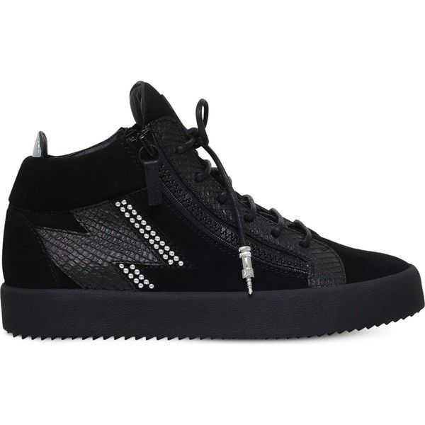 Giuseppe Zanotti Reptile-embossed leather and suede trainers ($820) ❤ liked on Polyvore featuring men's fashion, men's shoes, men's sneakers, mens leather lace up shoes, giuseppe zanotti mens sneakers, mens studded shoes, mens studded sneakers and mens leather shoes