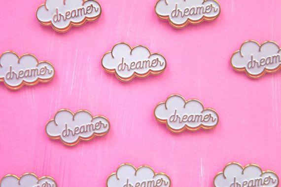 Head in the Cloud Dreamer 1 Enamel Pin Gold by blendingbybetty