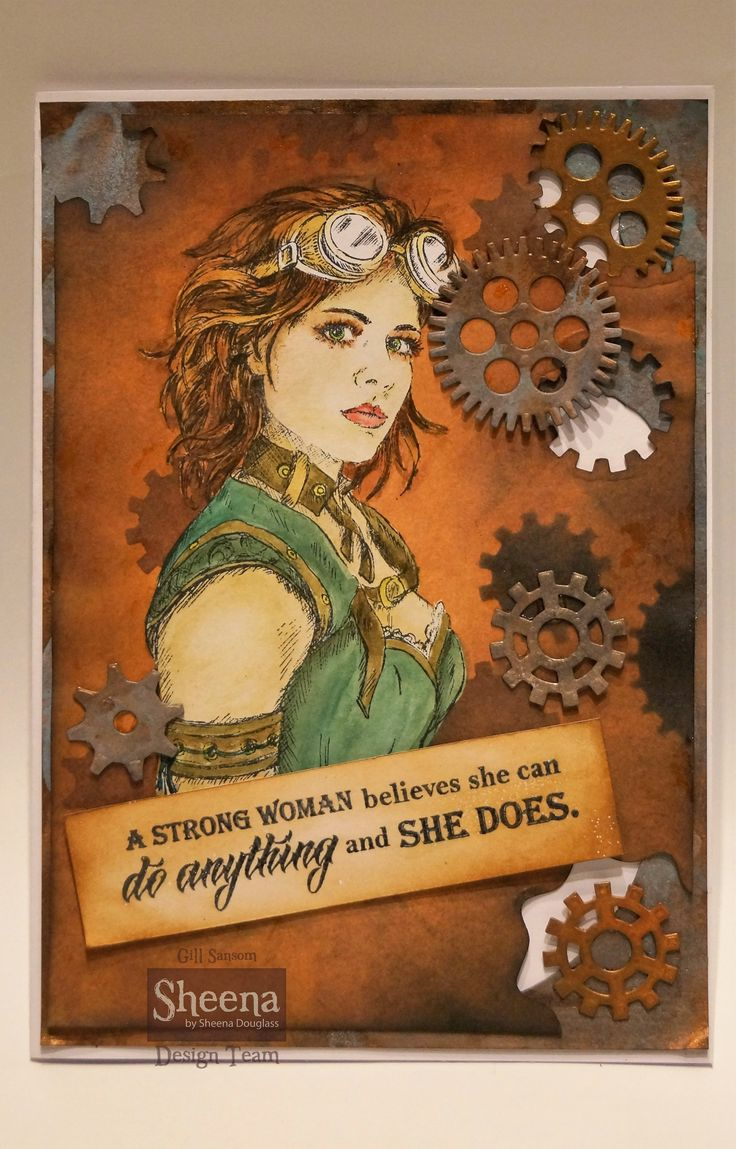 Steampunk girl card made using Sheena Douglass time traveller stamps and Aquatints .