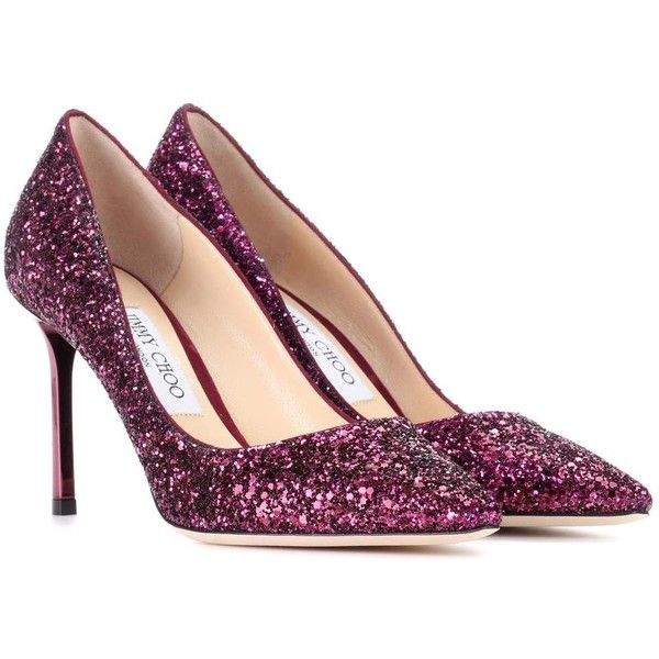 Jimmy Choo Romy 85 Glitter Pumps ($570) ❤ liked on Polyvore featuring shoes, pumps, purple, purple pumps, jimmy choo, purple glitter pumps, jimmy choo shoes and glitter shoes