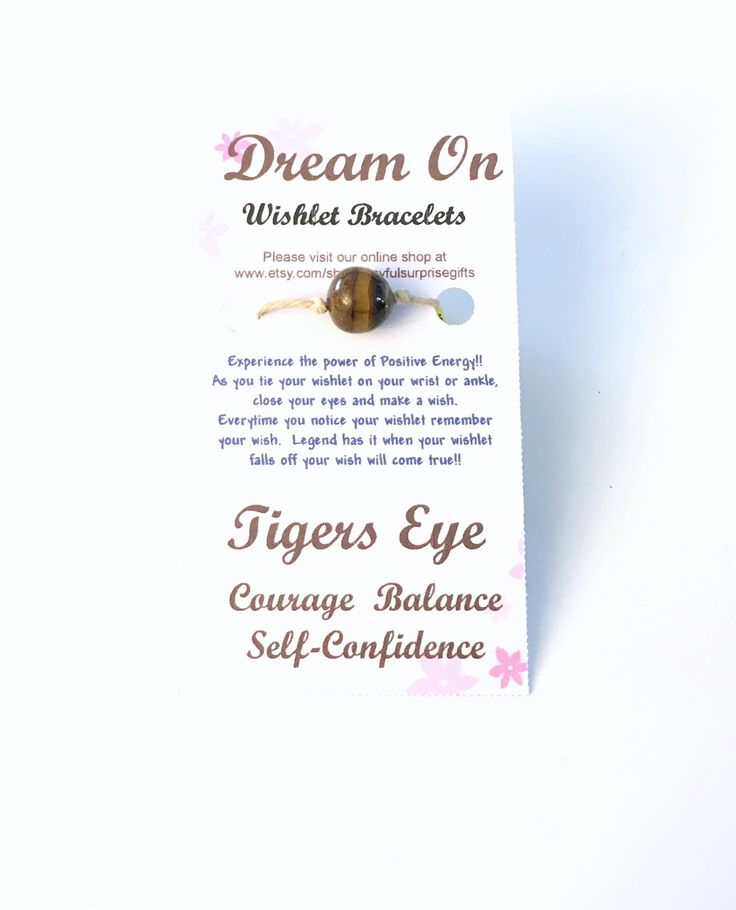 Tigers Eye Wishlet Bracelet for Boyfriend, Make a Wish Gift for Best Friend, Courage Balance Self Confidence Self-Confidence Teen Boy Him by ajoyfulsu…