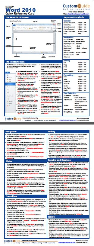 Free Word 2010 Cheat Sheet http://www.customguide.com/cheat_sheets/word-2010-cheat-sheet.pdf
