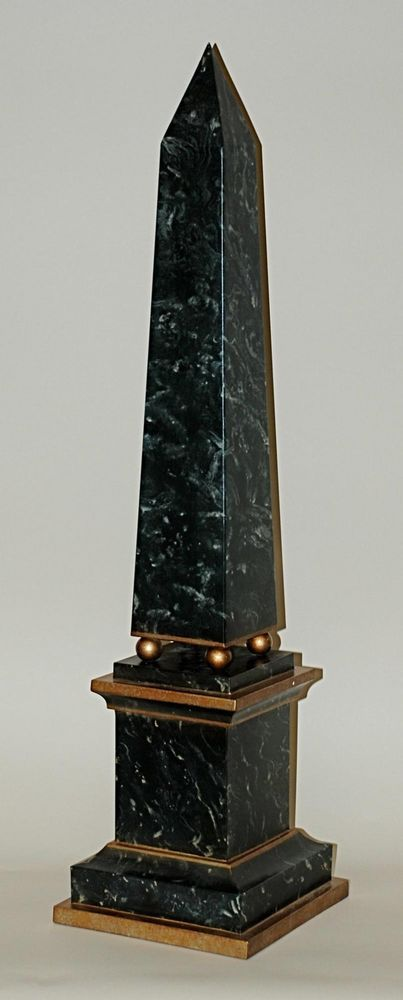 """Green Gold Faux Marble Iron Obelisk Statue Figurine Finial Home Decor,8' x 32""""H #Transitional"""