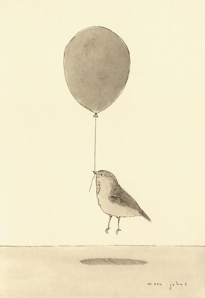 """bird with a balloon"" Art Print by Marc Johns on Society6."