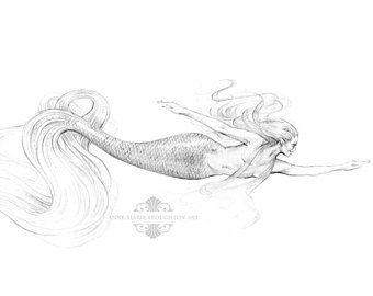 10 x 8 pulgadas impresión alegre sirena arte grafito lápiz dibujo negro y blanco tatuaje hermoso baño sirena arte firmado