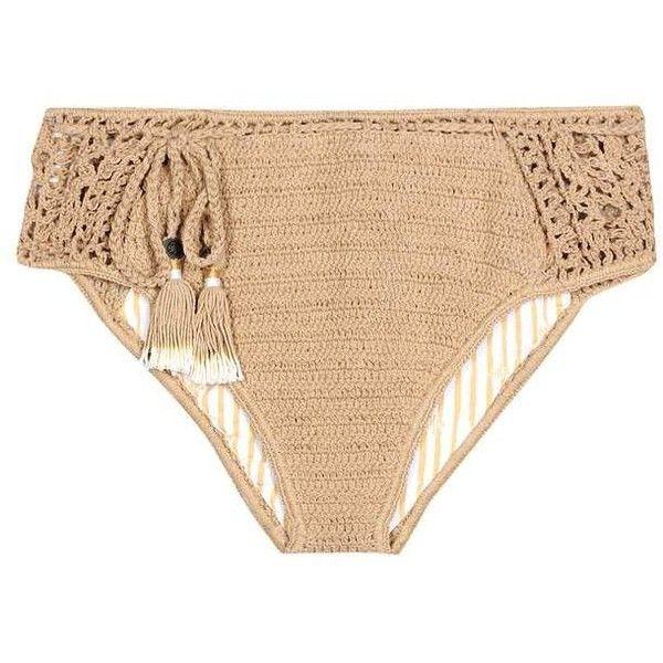 She Made Me Essential Crochet Bikini Bottoms ($125) ❤ liked on Polyvore featuring swimwear, bikinis, bikini bottoms, beachwear, brown, brown bikini, bikini bottom swimwear, macrame bikini, bottom bikini and crochet beach wear