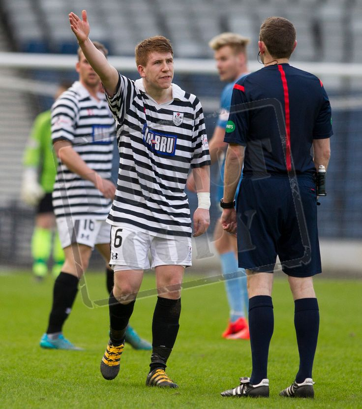 Queen's Park's Scott Gibson argues with referee Kevin Graham during the SPFL League Two game between Queen's Park and Berwick Rangers.