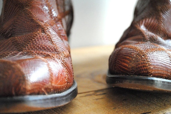 Vintage Cowboy Boots  For Men Distressed Brown by labiblioteca